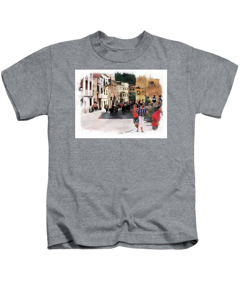 Event Kids T-Shirt featuring the photograph Running Of The Bulls by Anthony Dezenzio
