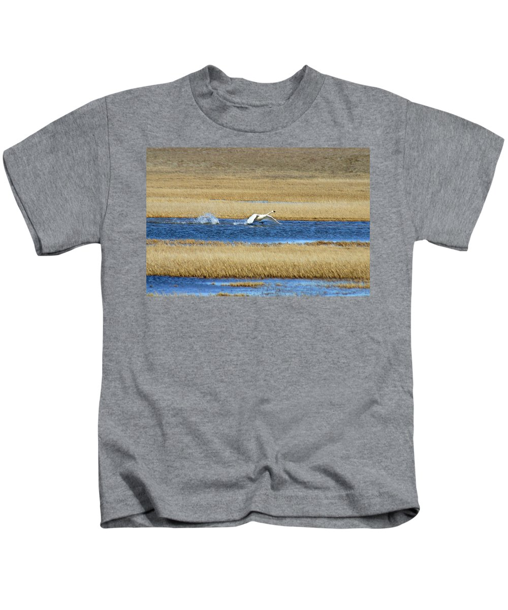 Swan Kids T-Shirt featuring the photograph Running On Water by Anthony Jones