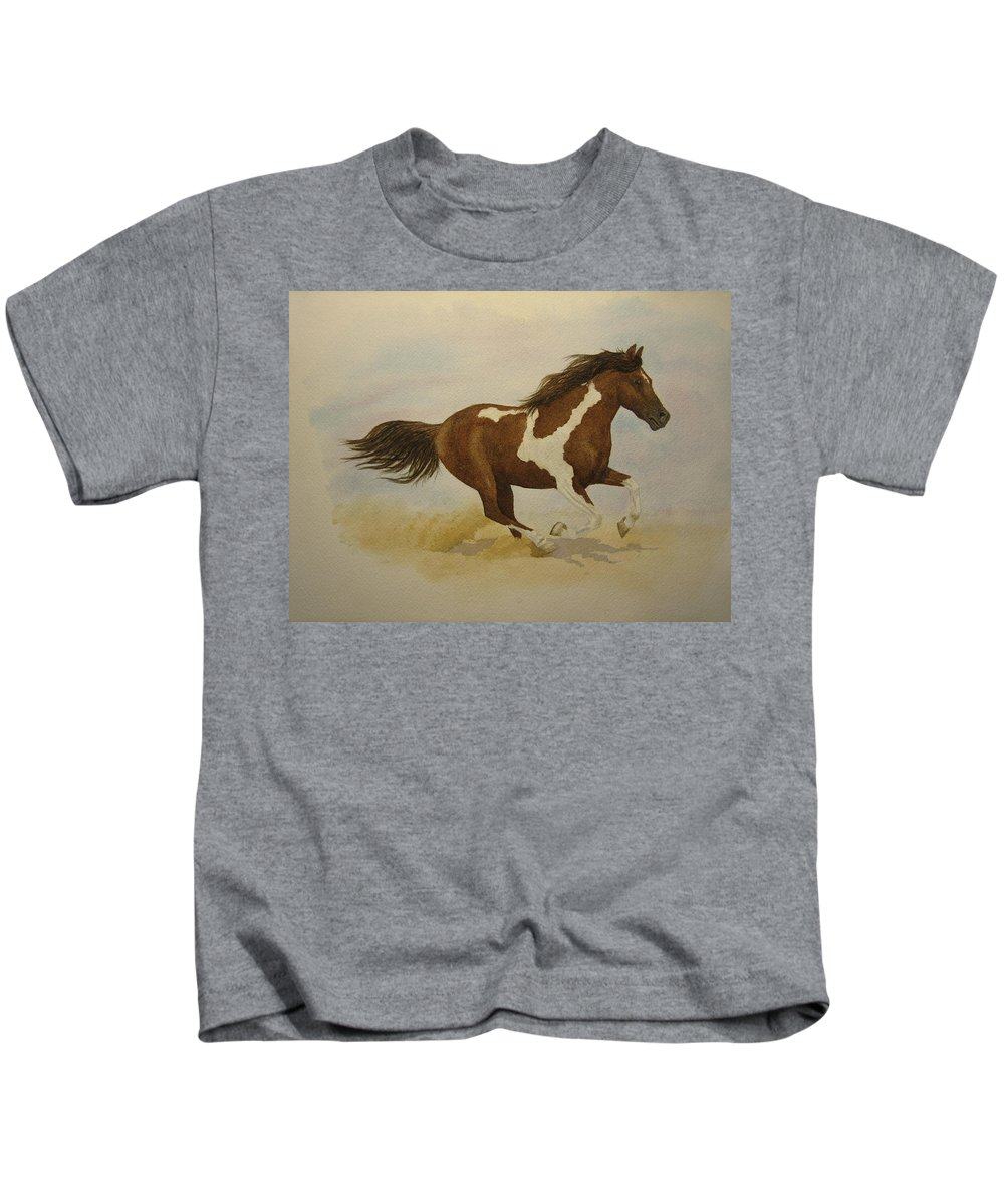 Paint Horse Kids T-Shirt featuring the painting Running Paint by Jeff Lucas
