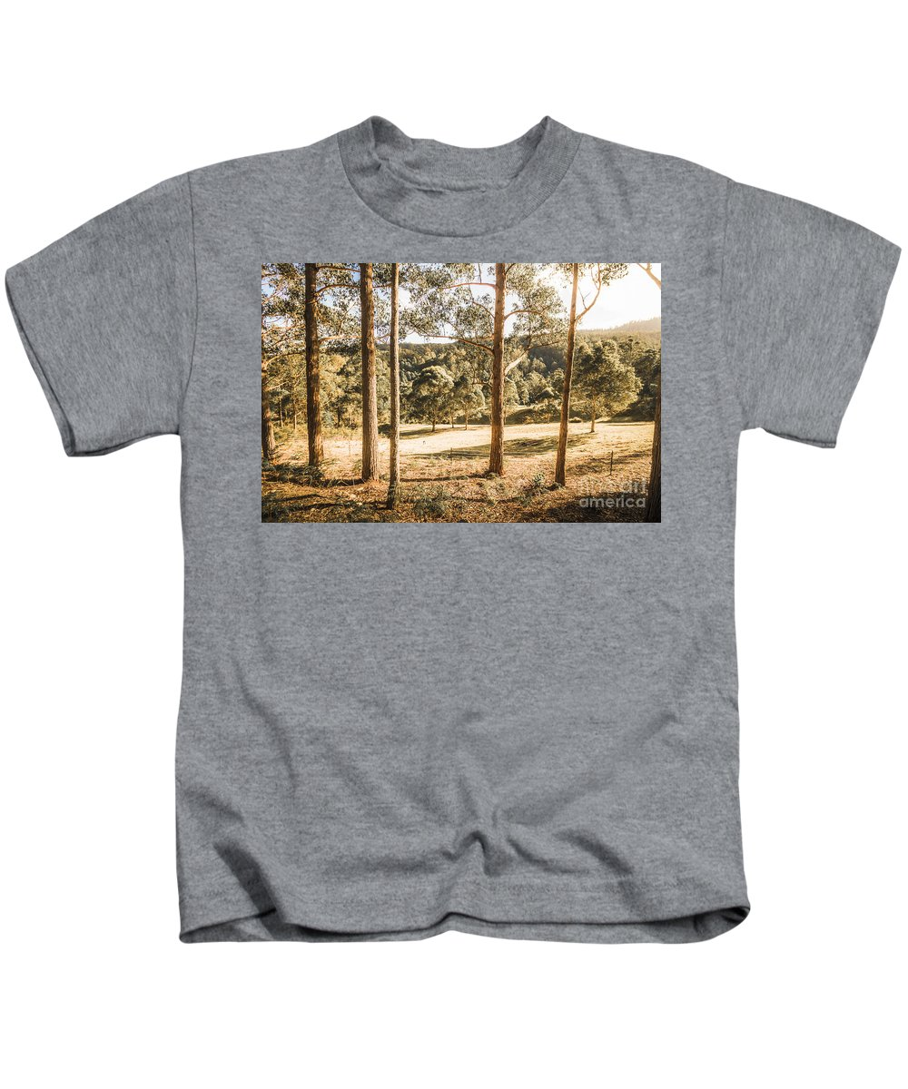 Clearing Kids T-Shirt featuring the photograph Rural Paddock In Australian Countryside by Jorgo Photography - Wall Art Gallery