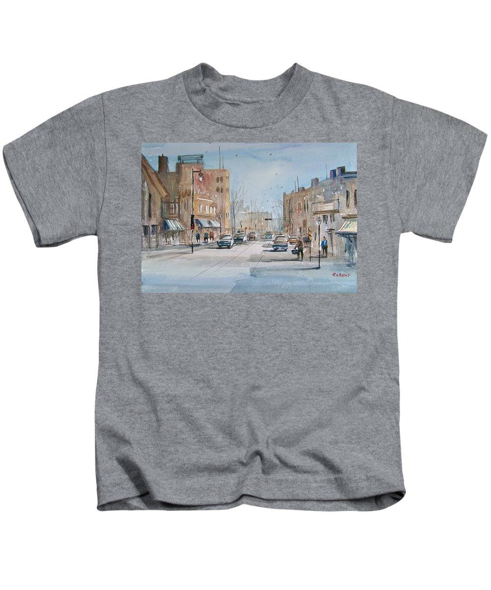 Street Scene Kids T-Shirt featuring the painting Rush Hour - Fond Du Lac by Ryan Radke
