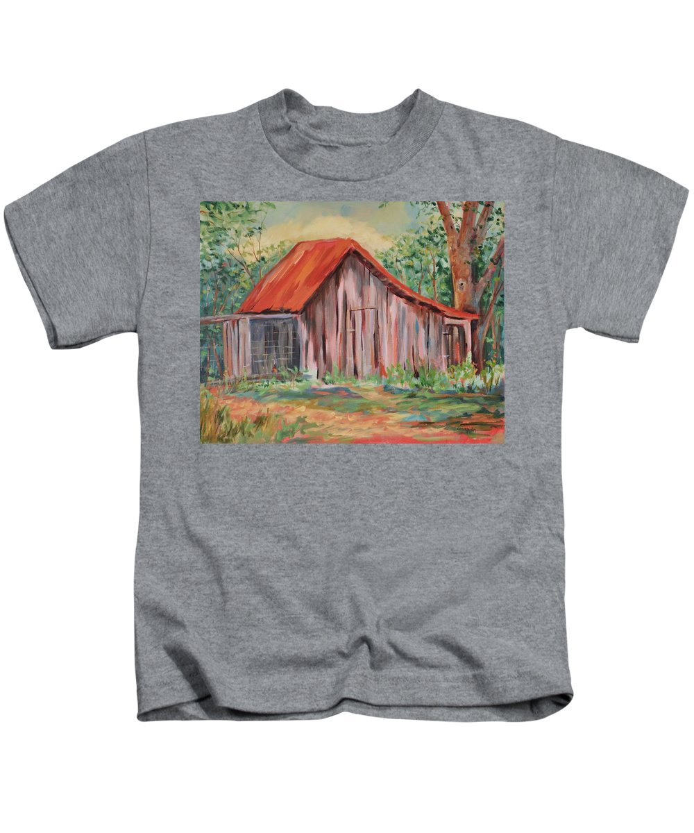 Chicken Coops Kids T-Shirt featuring the painting Russel Crow by Ginger Concepcion