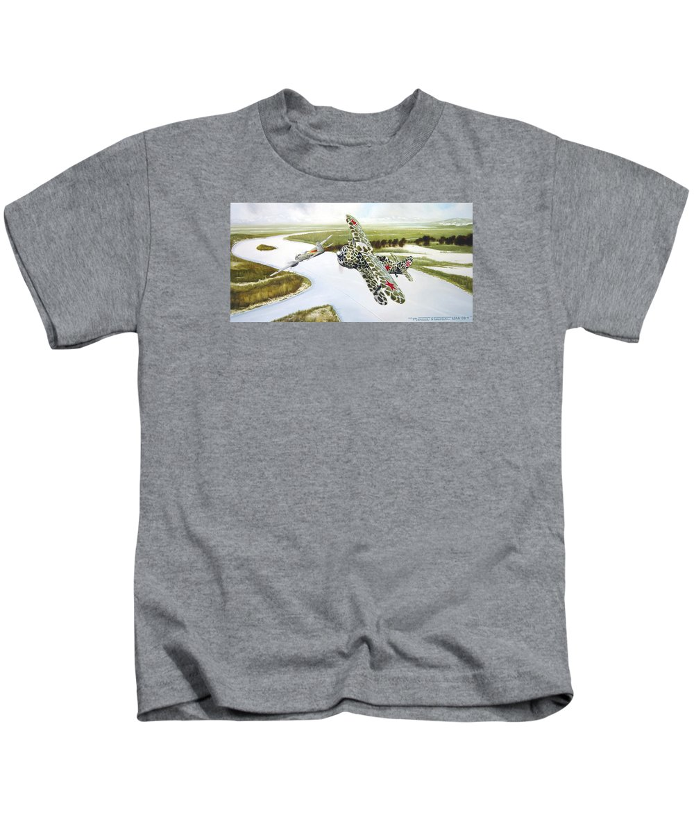 Aviation Kids T-Shirt featuring the painting Russian Roulette by Marc Stewart
