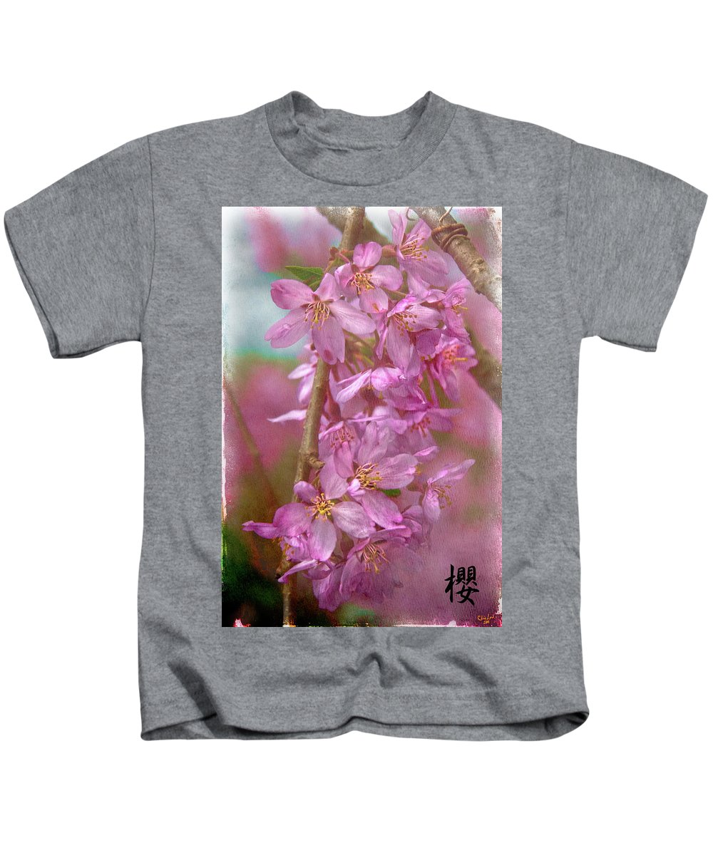 Cherry Kids T-Shirt featuring the photograph S A K U R A by Chris Lord