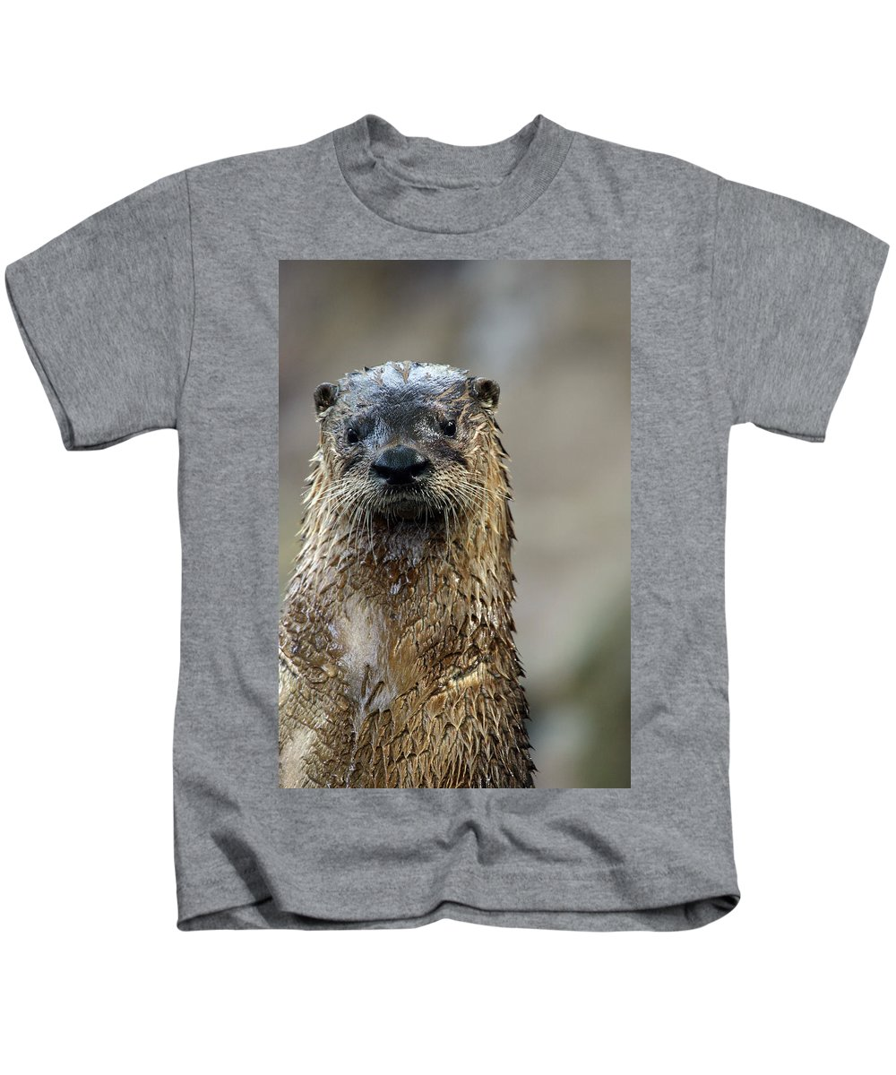 Otter Kids T-Shirt featuring the photograph Sad Looking by Karol Livote