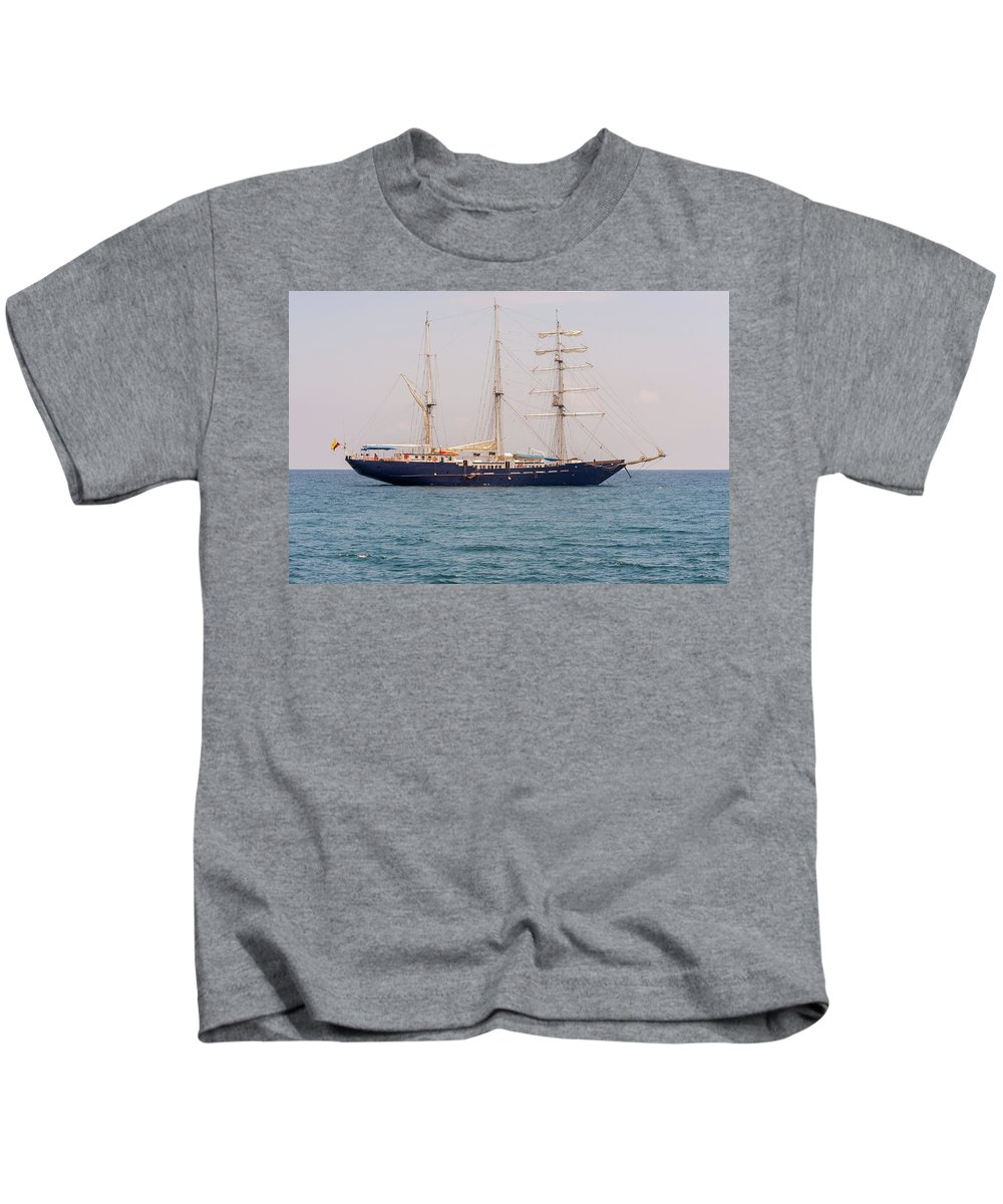 Santa Cruz Kids T-Shirt featuring the photograph Sail Boat Near Galapagos Islands On Pacific Ocean by Marek Poplawski