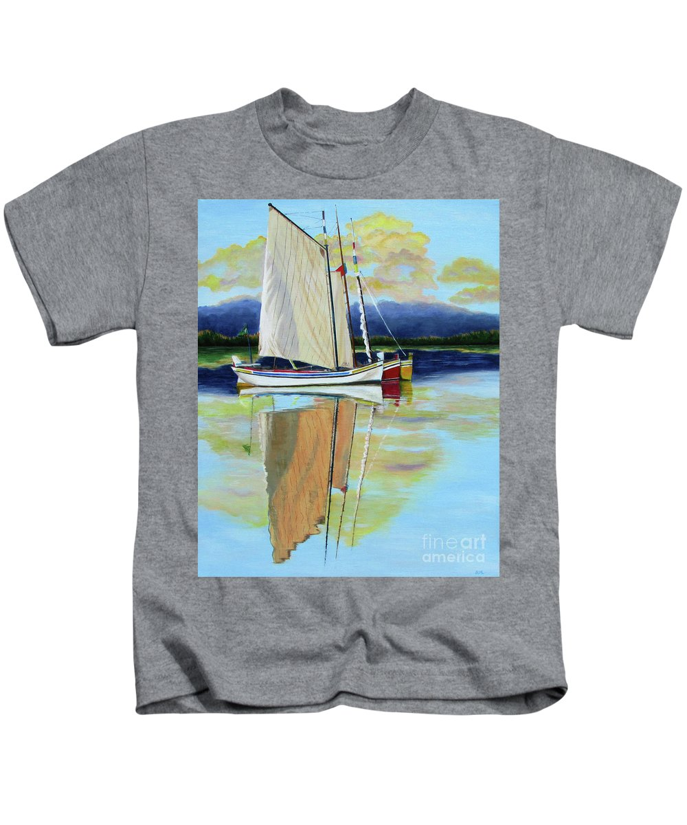 Sailboat Kids T-Shirt featuring the painting Sailboat Reflections by Sandra McClelland