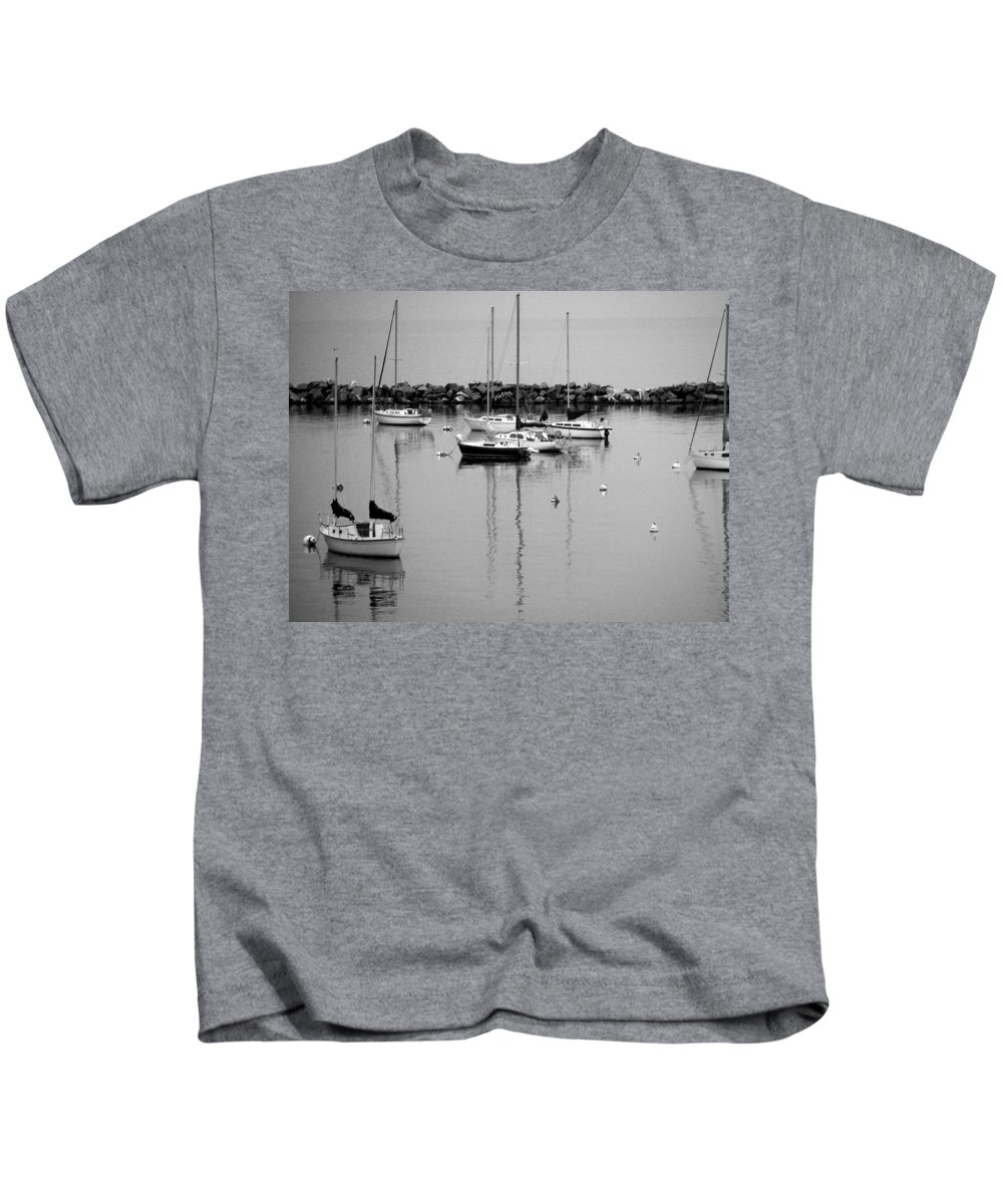 Sailboats Kids T-Shirt featuring the photograph Sailboats Resting B-w by Anita Burgermeister