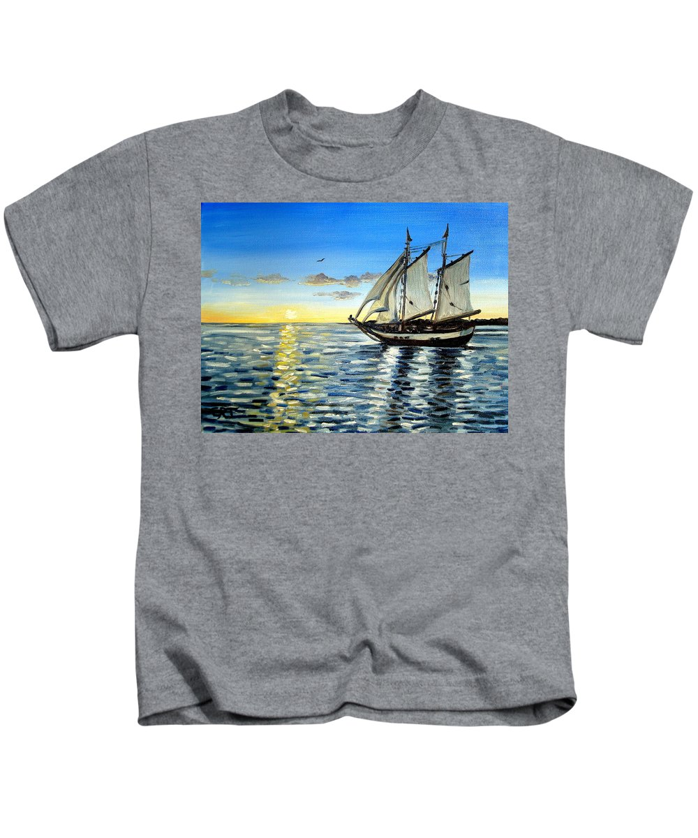 Seascape Kids T-Shirt featuring the painting Sailing Day Sunset by Elizabeth Robinette Tyndall