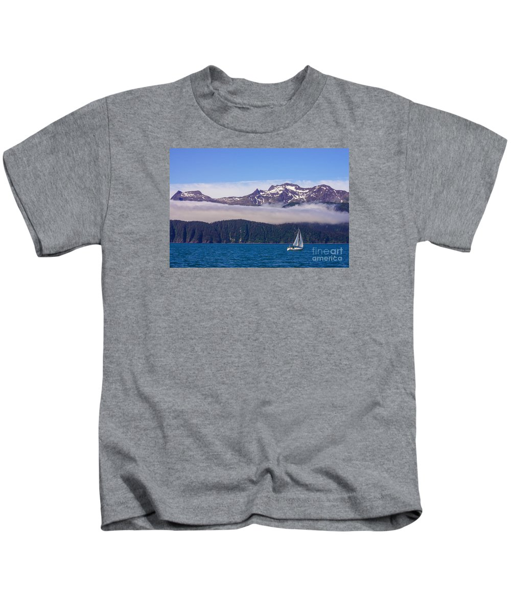 Adventure Kids T-Shirt featuring the photograph Sailing In Alaska by Jennifer White