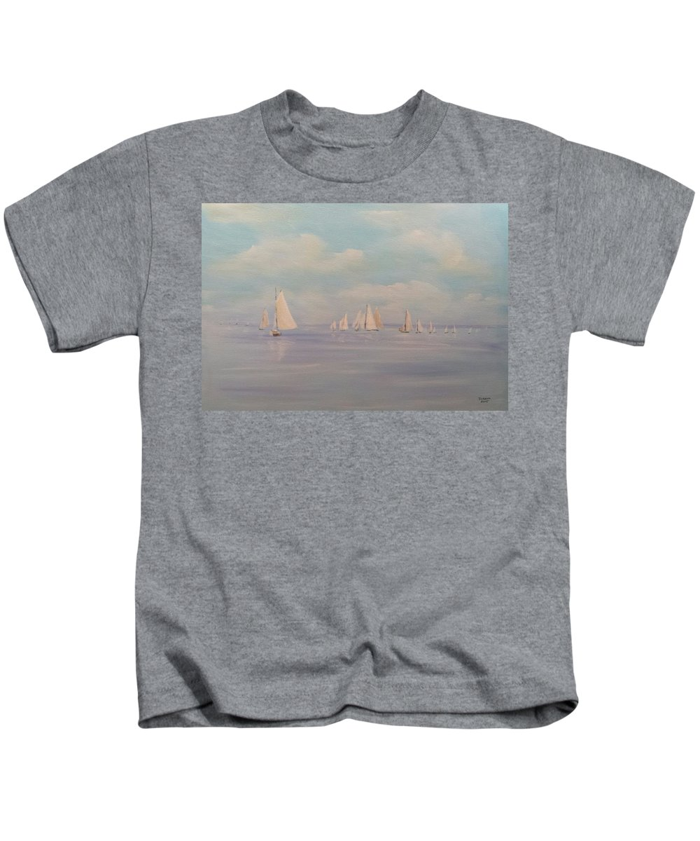 Sail Boats Kids T-Shirt featuring the painting Sailing Together by Douglas Harn