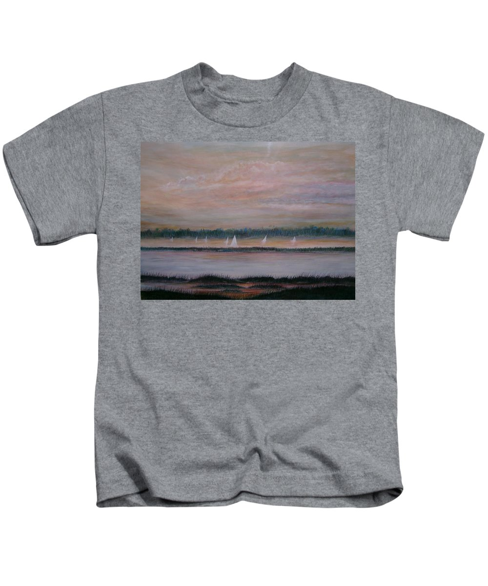 Sailboats; Marsh; Sunset Kids T-Shirt featuring the painting Sails In The Sunset by Ben Kiger