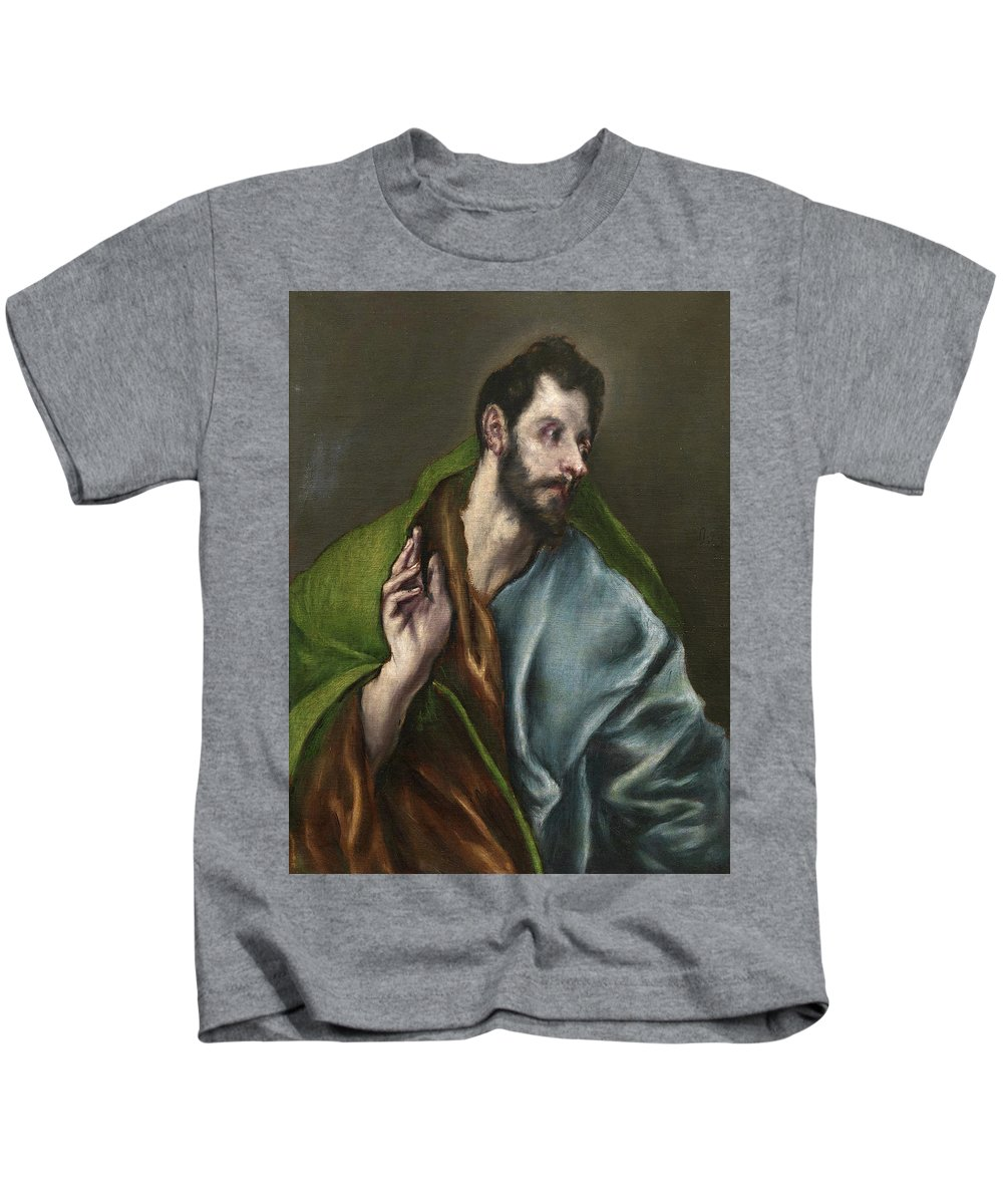 Apostle Kids T-Shirt featuring the painting Saint Thomas by El Greco