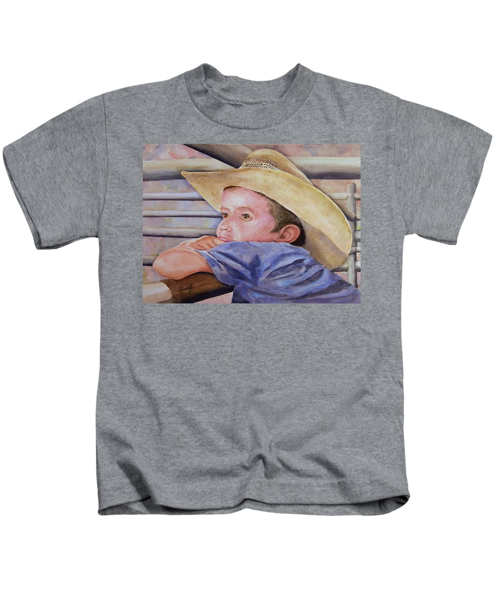 Sale Kids T-Shirt featuring the painting Sale Day by Sam Sidders