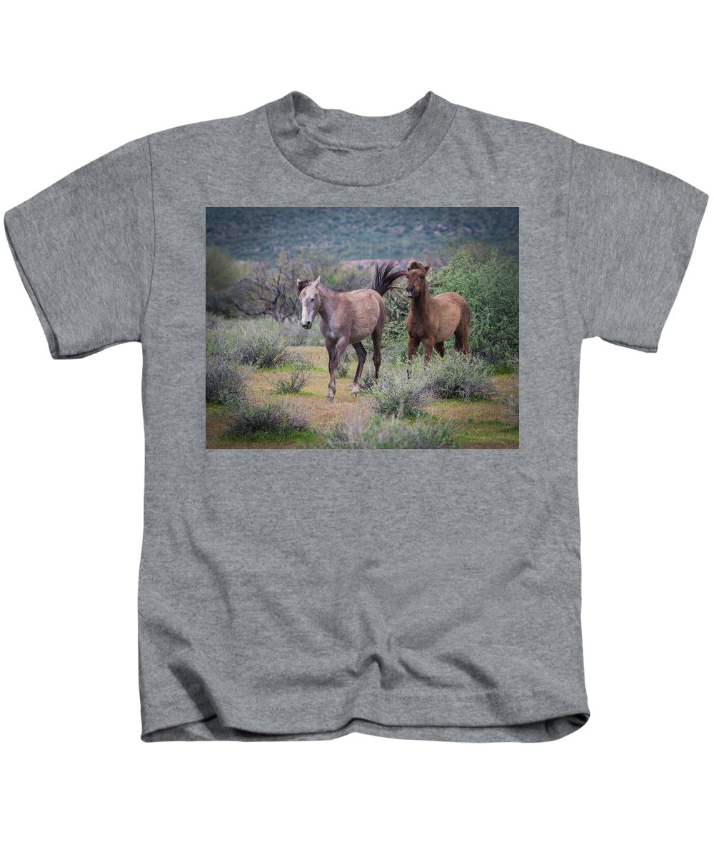 Salt Kids T-Shirt featuring the photograph Salt River Wild Horses-img_747217 by Rosemary Woods-Desert Rose Images