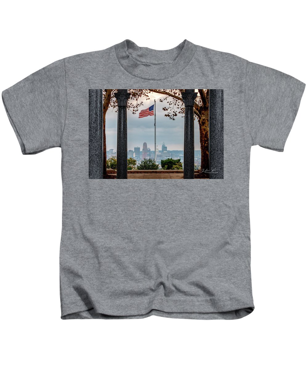 Amreican Flag Kids T-Shirt featuring the photograph Salute To Cincinnati by Andrew Johnson
