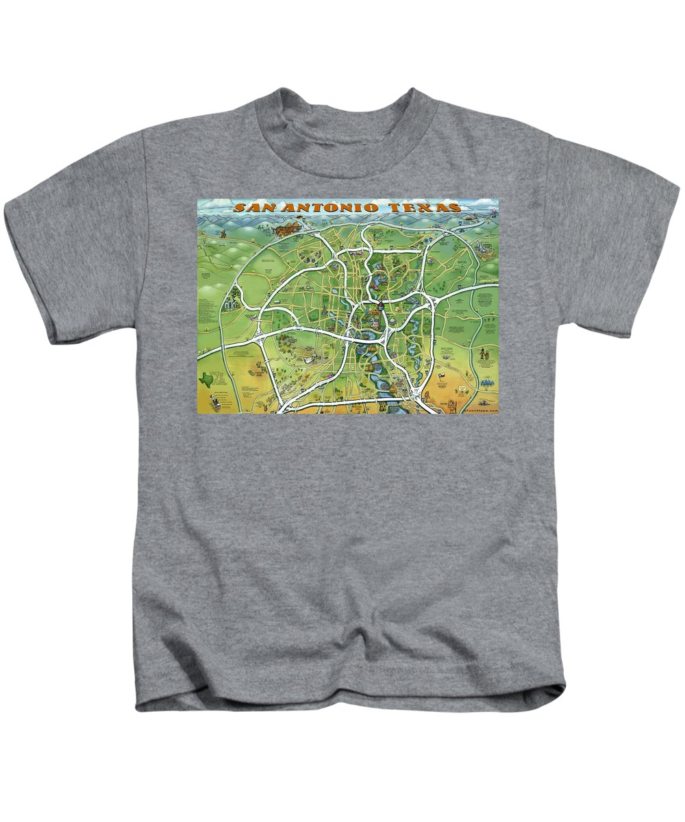 San Antonio Kids T-Shirt featuring the painting San Antonio Texas Cartoon Map by Kevin Middleton