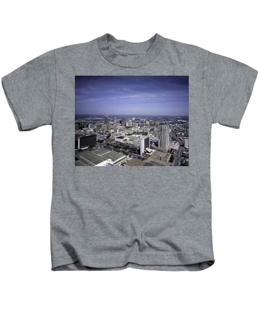 San Antonio Kids T-Shirt featuring the photograph San Antonio Texas Skyline by PhotographyAssociates