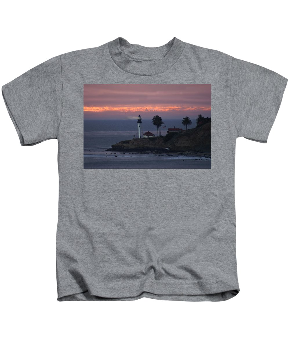 San Deigo Kids T-Shirt featuring the photograph San Diego Lighthouse by Heather Coen