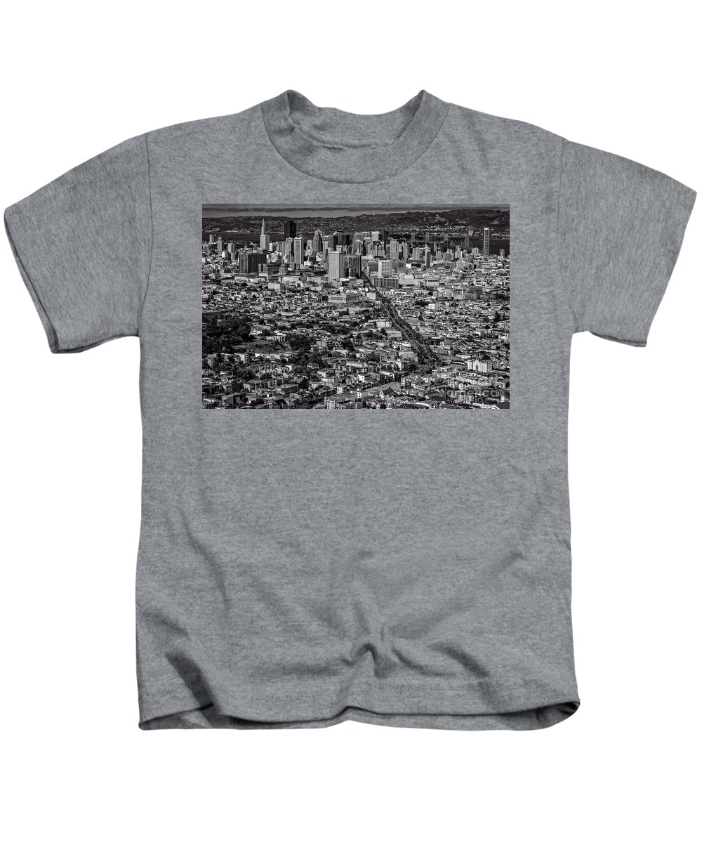 San Francisco Kids T-Shirt featuring the photograph San Francisco From Twin Peaks by Doug Sturgess