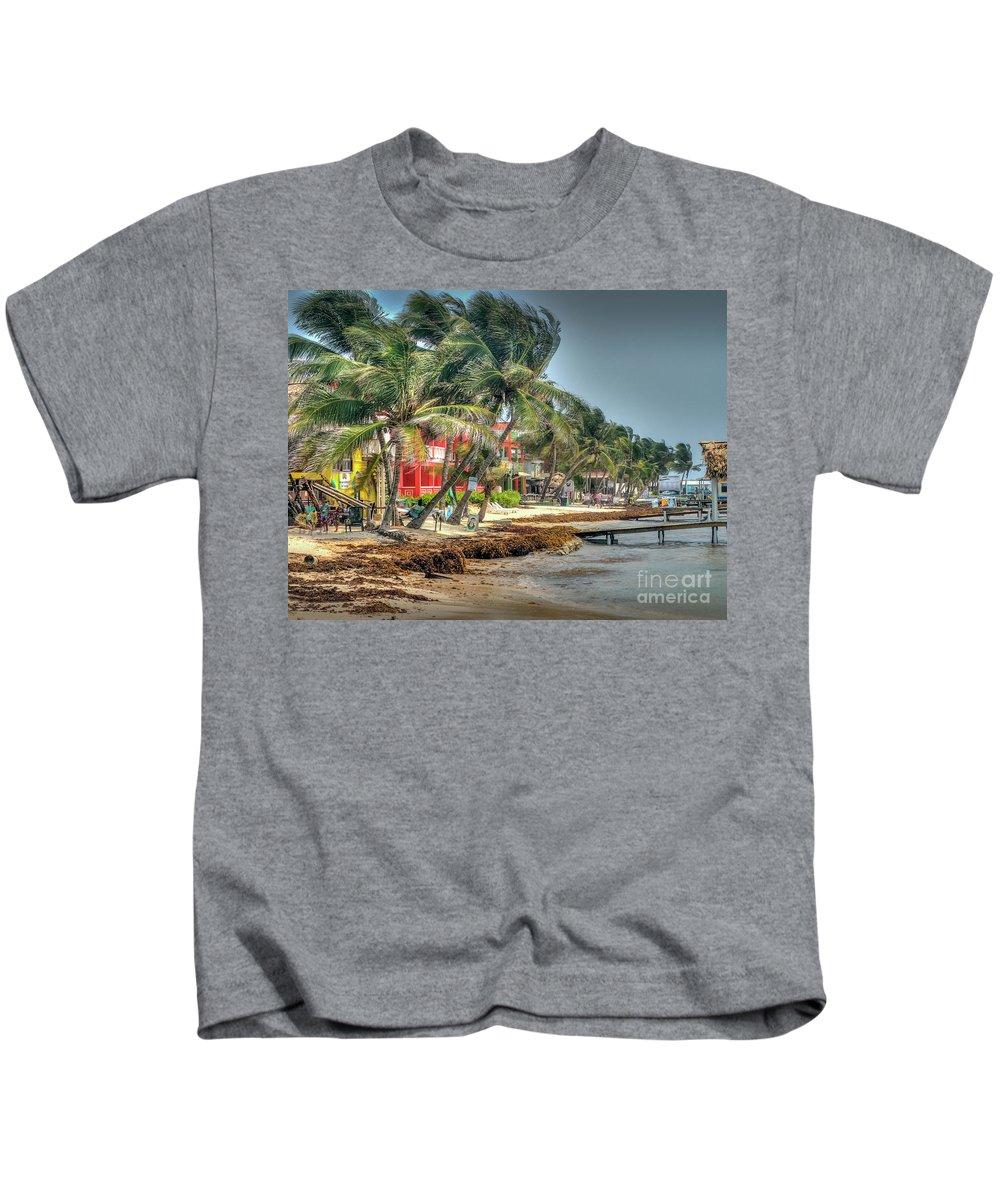 San Pedro Belize Kids T-Shirt featuring the photograph San Pedro Windy Day by David Zanzinger