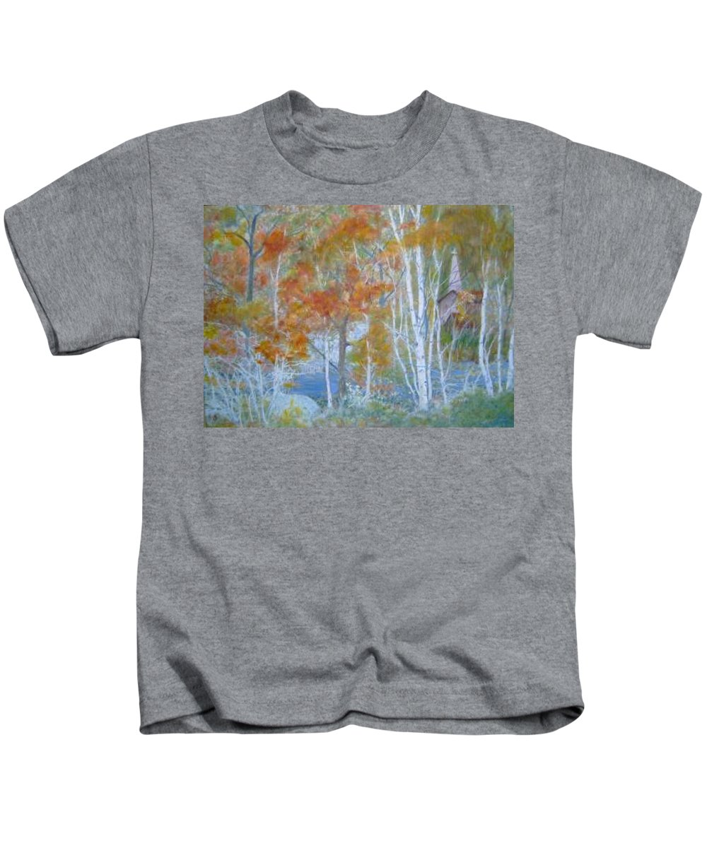 Church; Landscape; Birch Trees Kids T-Shirt featuring the painting Sanctuary by Ben Kiger