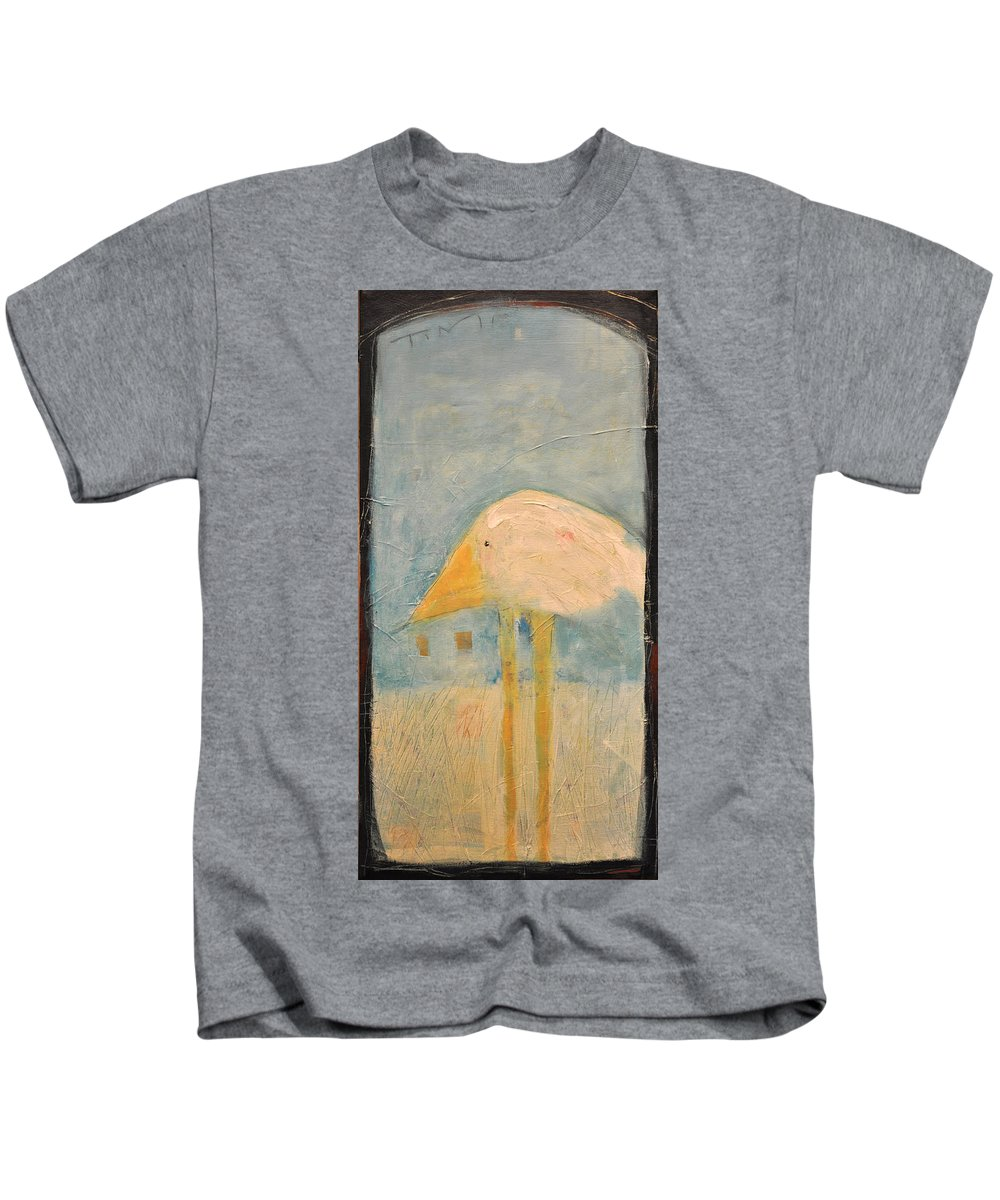 Humor Kids T-Shirt featuring the painting Sanctuary Bird by Tim Nyberg