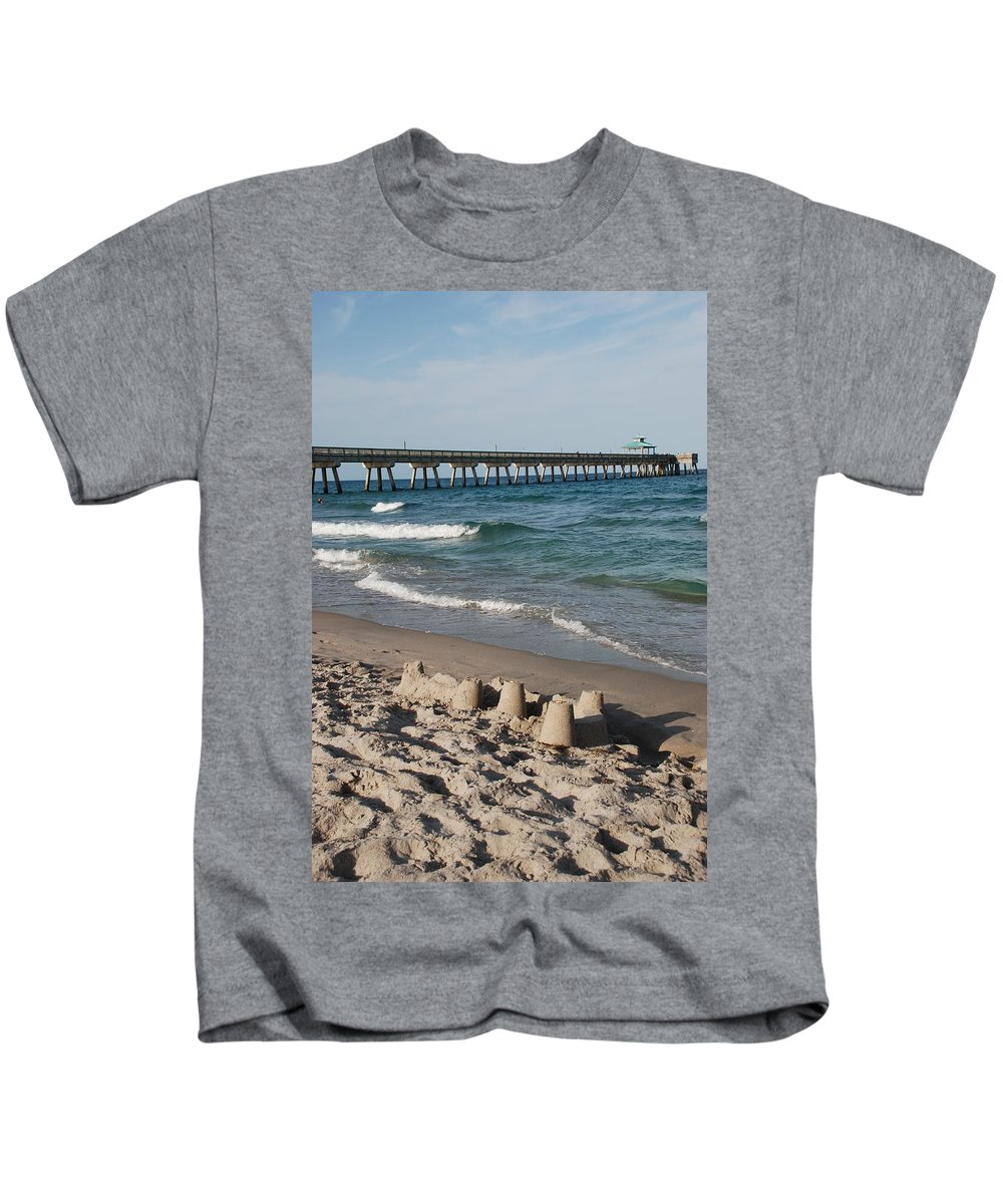 Sea Scape Kids T-Shirt featuring the photograph Sand Castles And Piers by Rob Hans