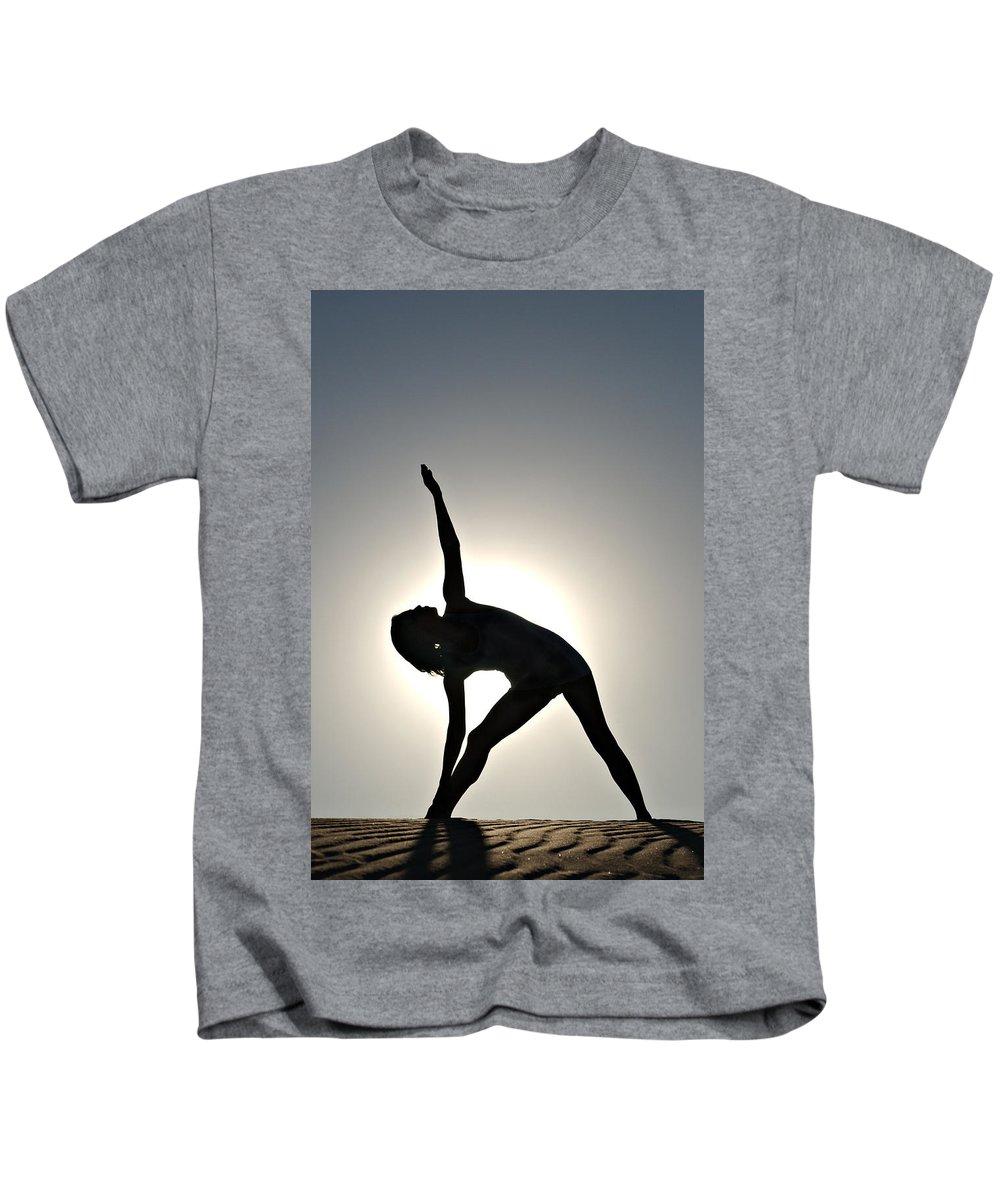 Yoga Kids T-Shirt featuring the photograph Sand Yoga by Scott Sawyer