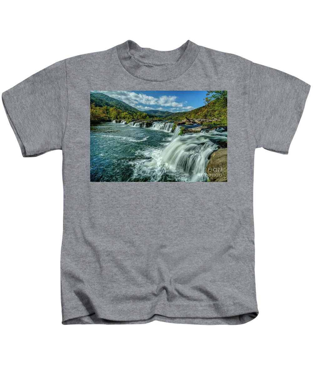 New River Gorge Kids T-Shirt featuring the photograph Sandstone Falls New River by Thomas R Fletcher