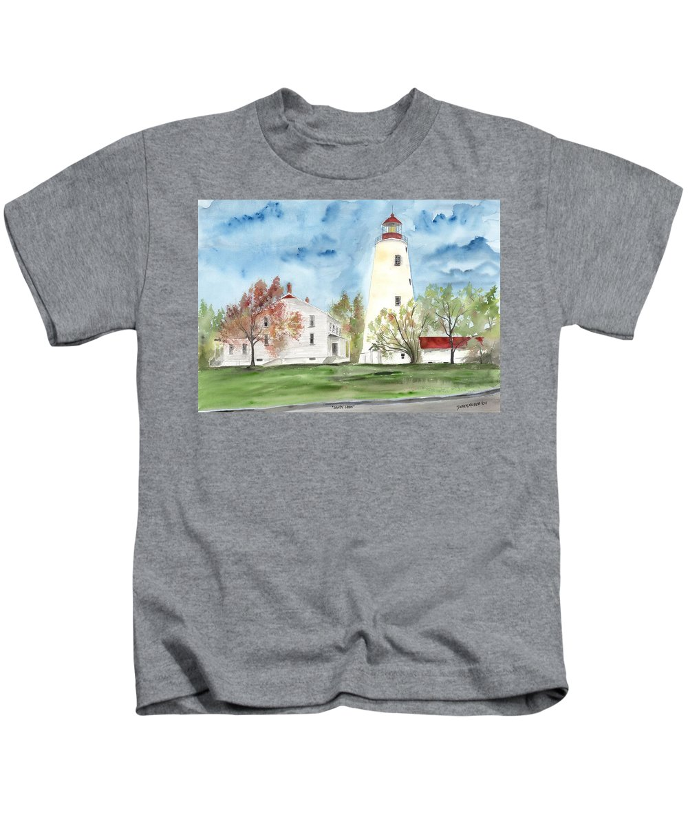 Watercolor Kids T-Shirt featuring the painting Sandy Hook Lighthouse by Derek Mccrea