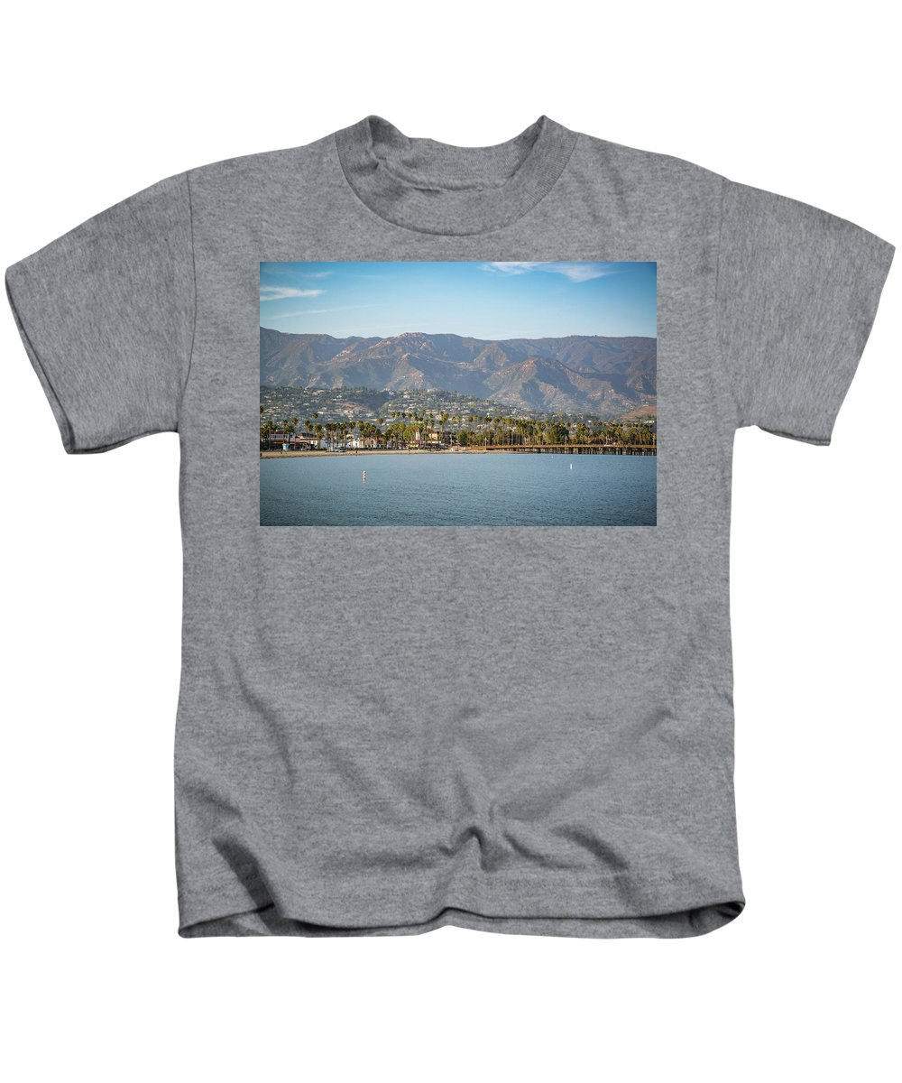 California Kids T-Shirt featuring the photograph Santa Barbara Coastline From The Water by Jaime Lind