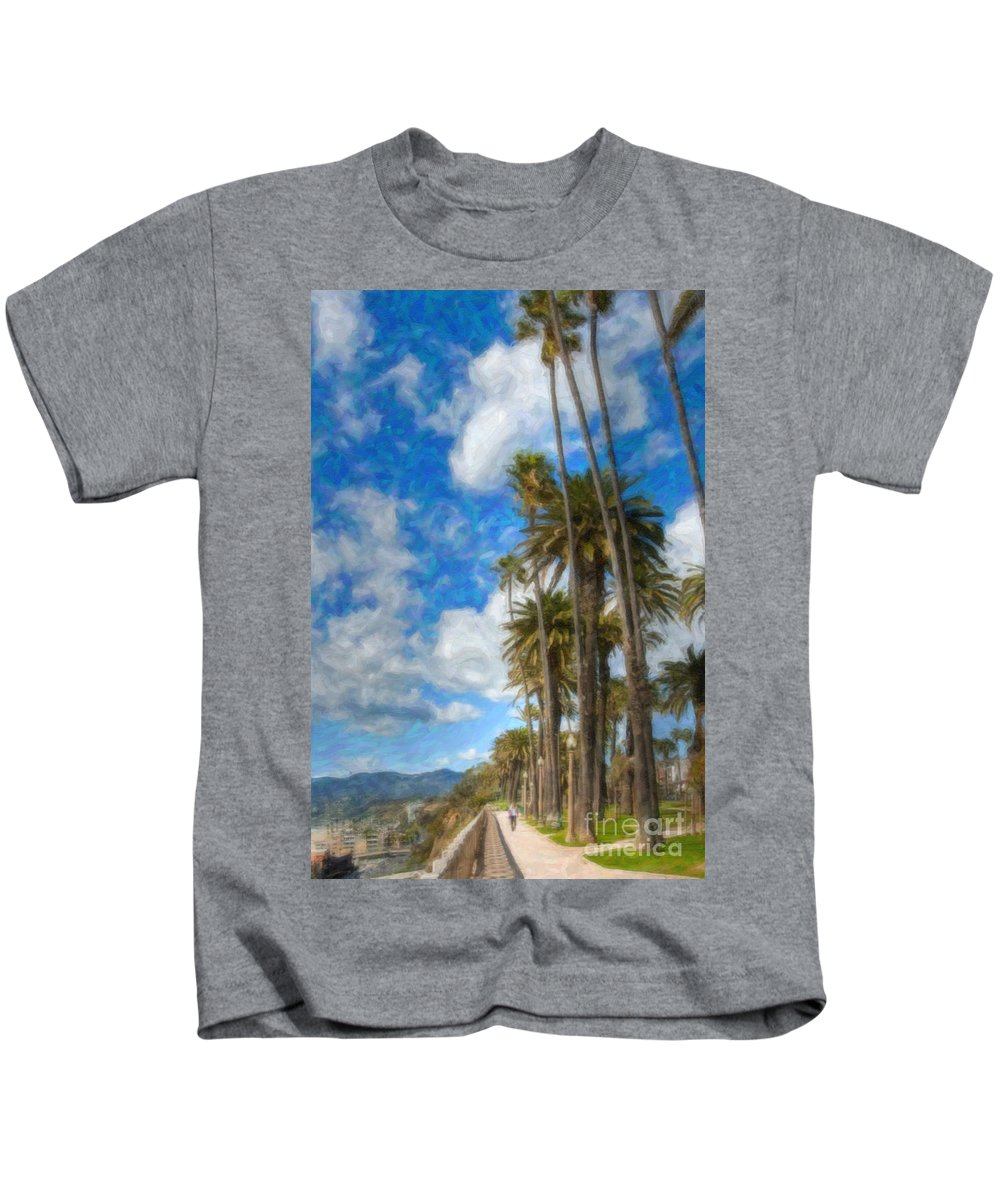 Looking North Kids T-Shirt featuring the photograph Santa Monica Ca Palisades Park Bluffs Palm Trees by David Zanzinger