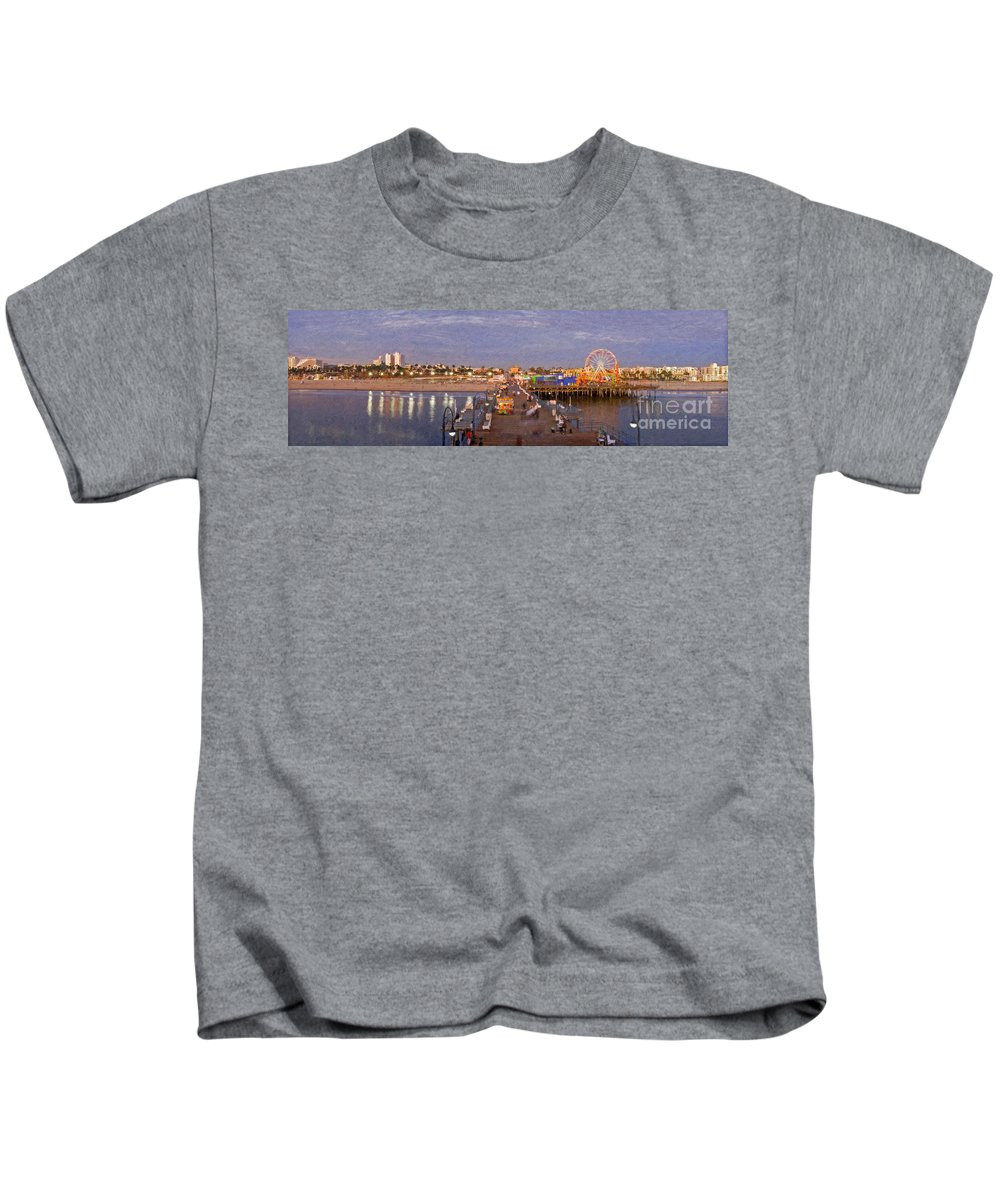 Santa Monica Pacific Park Pier Sunset Panoramic Kids T-Shirt featuring the photograph Santa Monica Pacific Park Pier Skyline Panoramic by David Zanzinger
