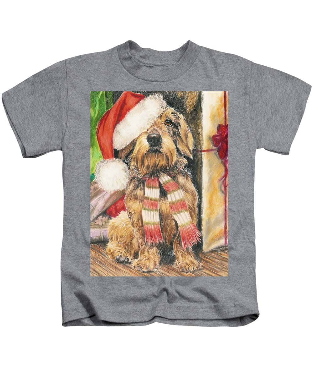Hound Group Kids T-Shirt featuring the drawing Santas Little Yelper by Barbara Keith