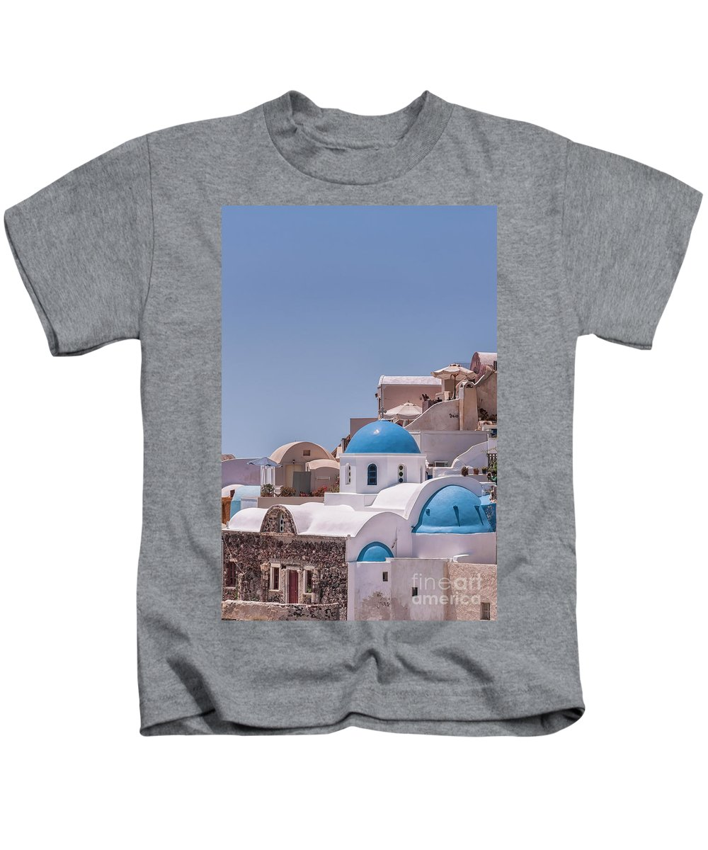 Greece Kids T-Shirt featuring the photograph Santorini Church In Oia by Antony McAulay