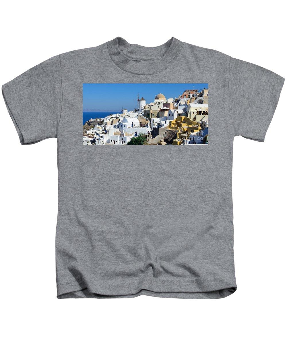 Santorini Kids T-Shirt featuring the photograph Santorini Oia by Yinguo Huang