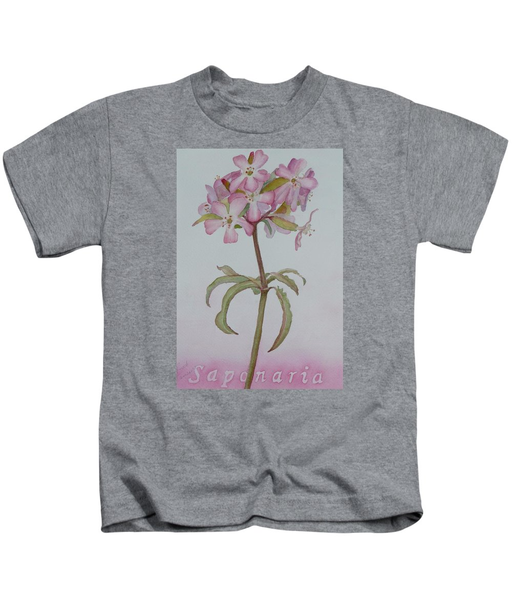 Flower Kids T-Shirt featuring the painting Saponaria by Ruth Kamenev