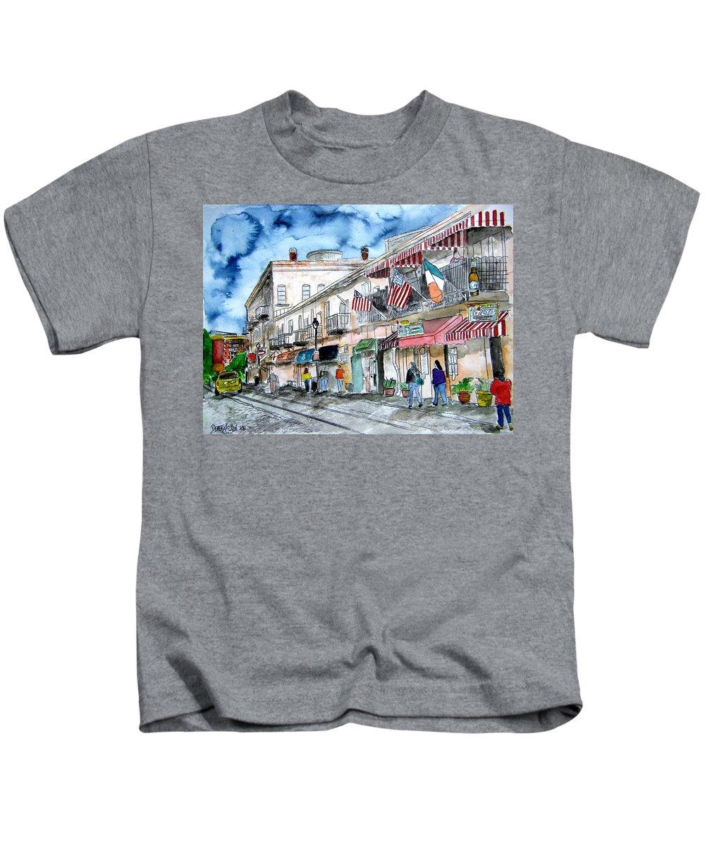 Pen And Ink Kids T-Shirt featuring the painting Savannah Georgia River Street by Derek Mccrea