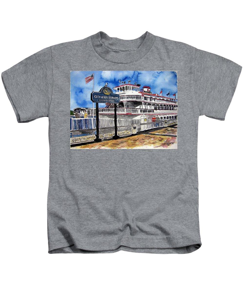 Savannah Kids T-Shirt featuring the painting Savannah River Queen Boat Georgia by Derek Mccrea