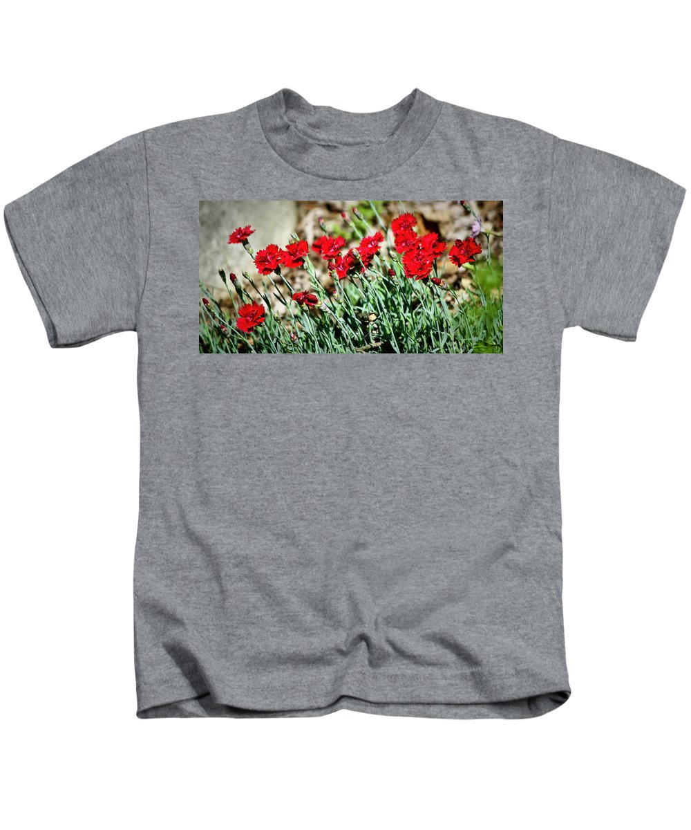 Dianthus Kids T-Shirt featuring the photograph Scarlet Red Dianthus by Teresa Mucha