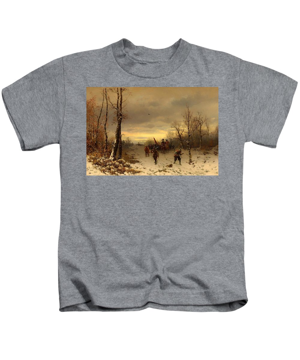 Painting Kids T-Shirt featuring the painting Scene From The Thirty Years War by Mountain Dreams