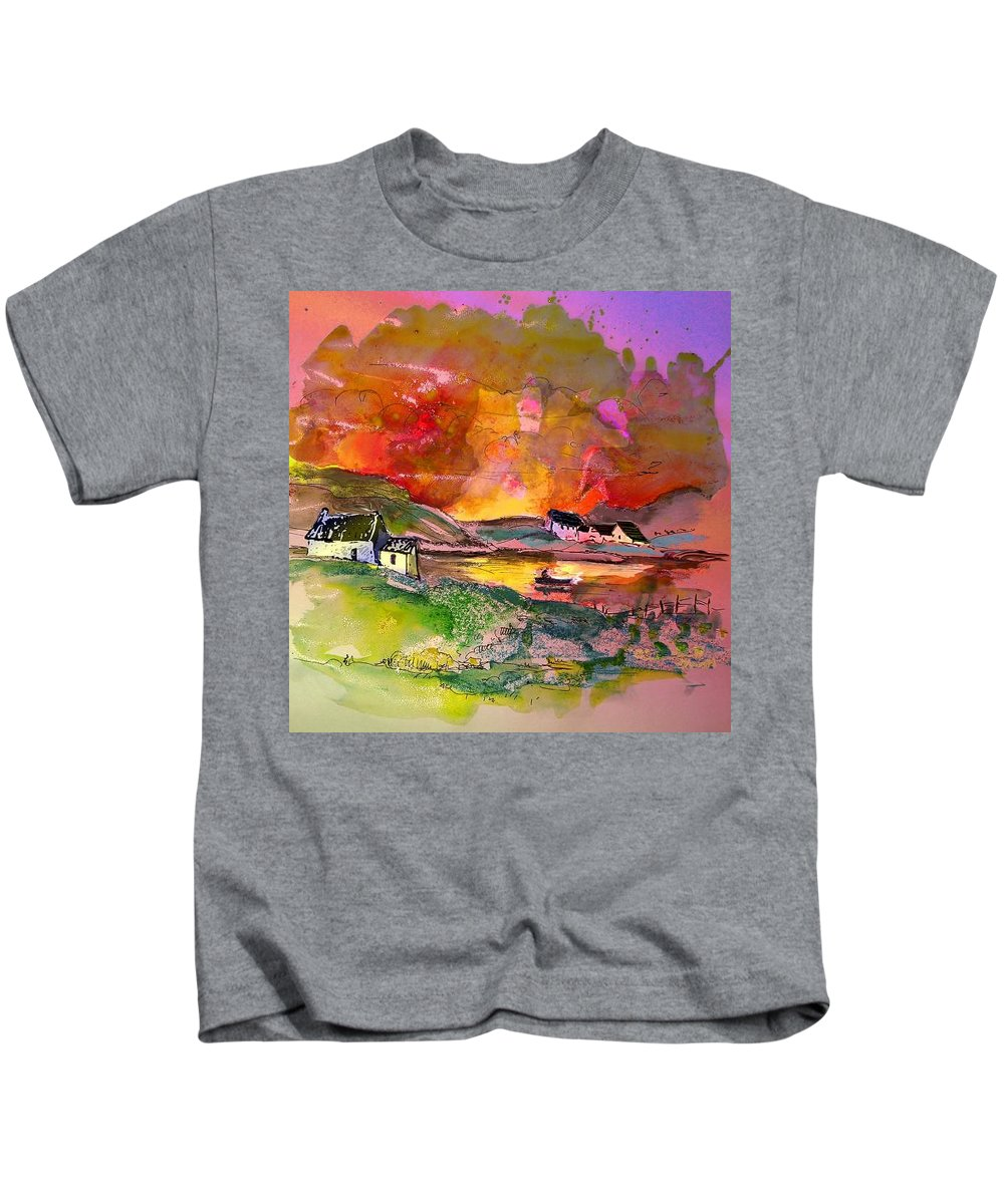 Scotland Paintings Kids T-Shirt featuring the painting Scotland 07 by Miki De Goodaboom