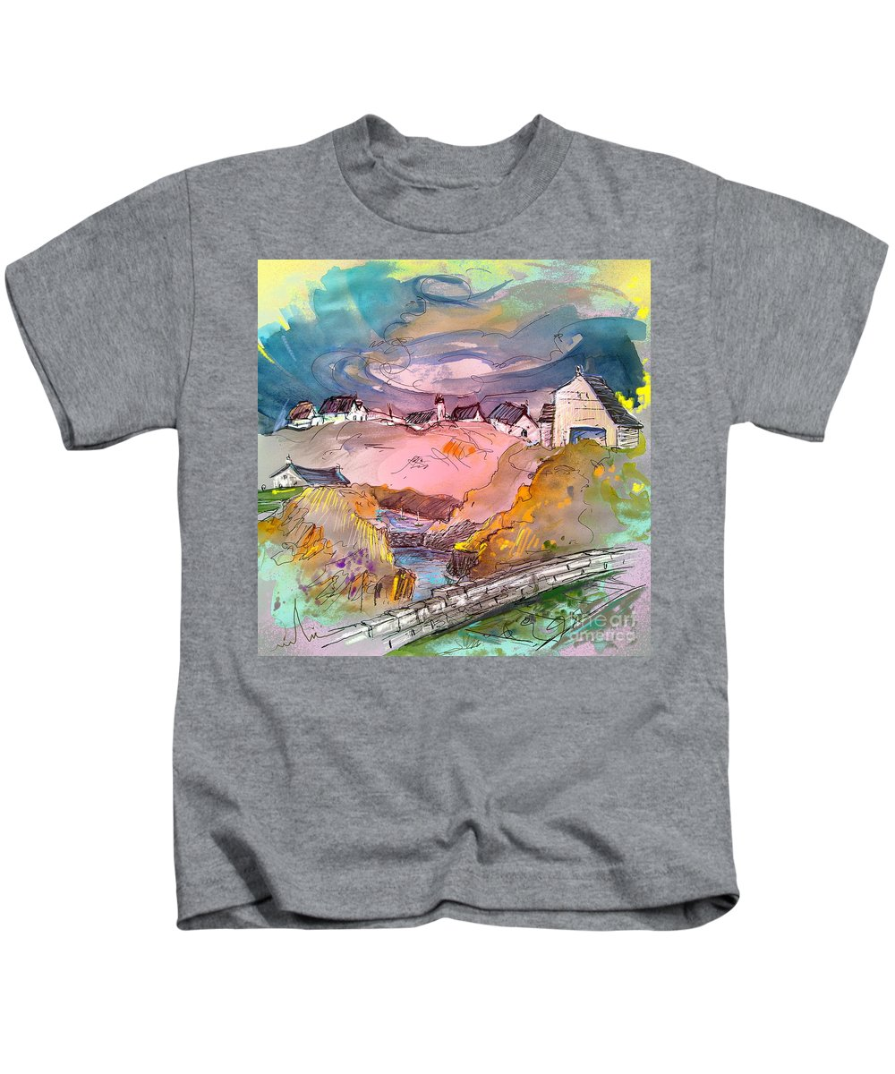 Scotland Paintings Kids T-Shirt featuring the painting Scotland 17 by Miki De Goodaboom