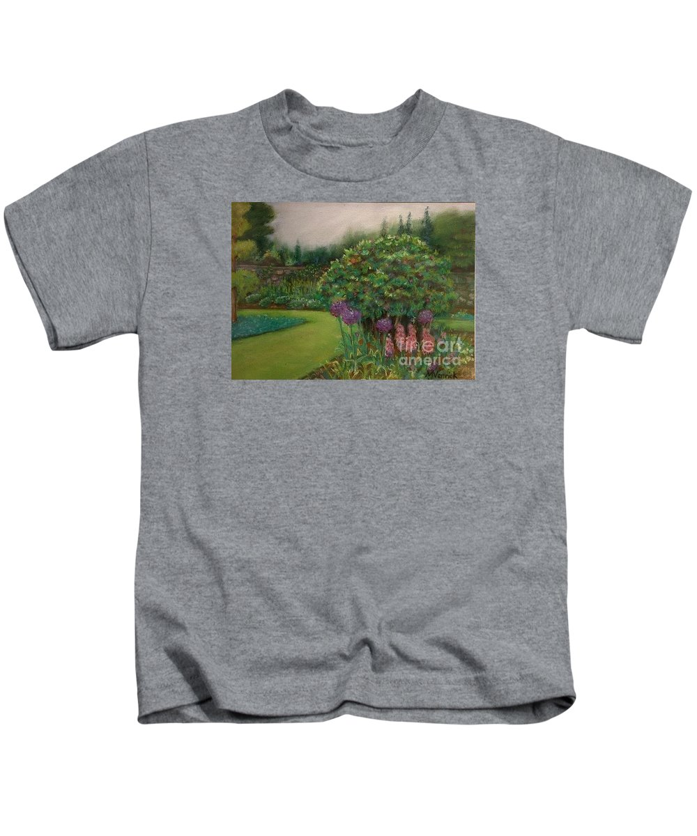 Landscape Kids T-Shirt featuring the painting Scottish Garden by M J Venrick