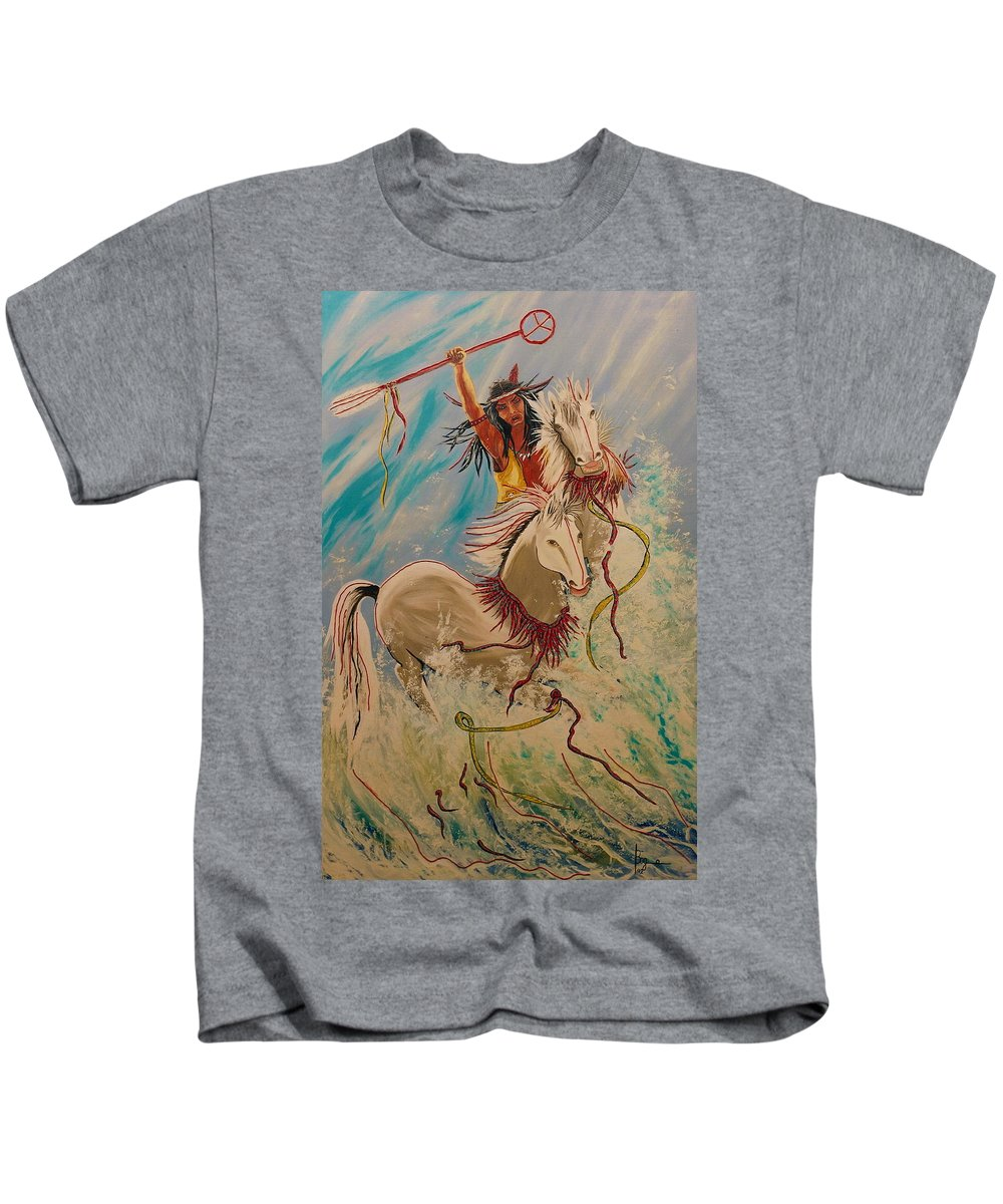 Horses Kids T-Shirt featuring the painting Scream Of Peace by V Boge