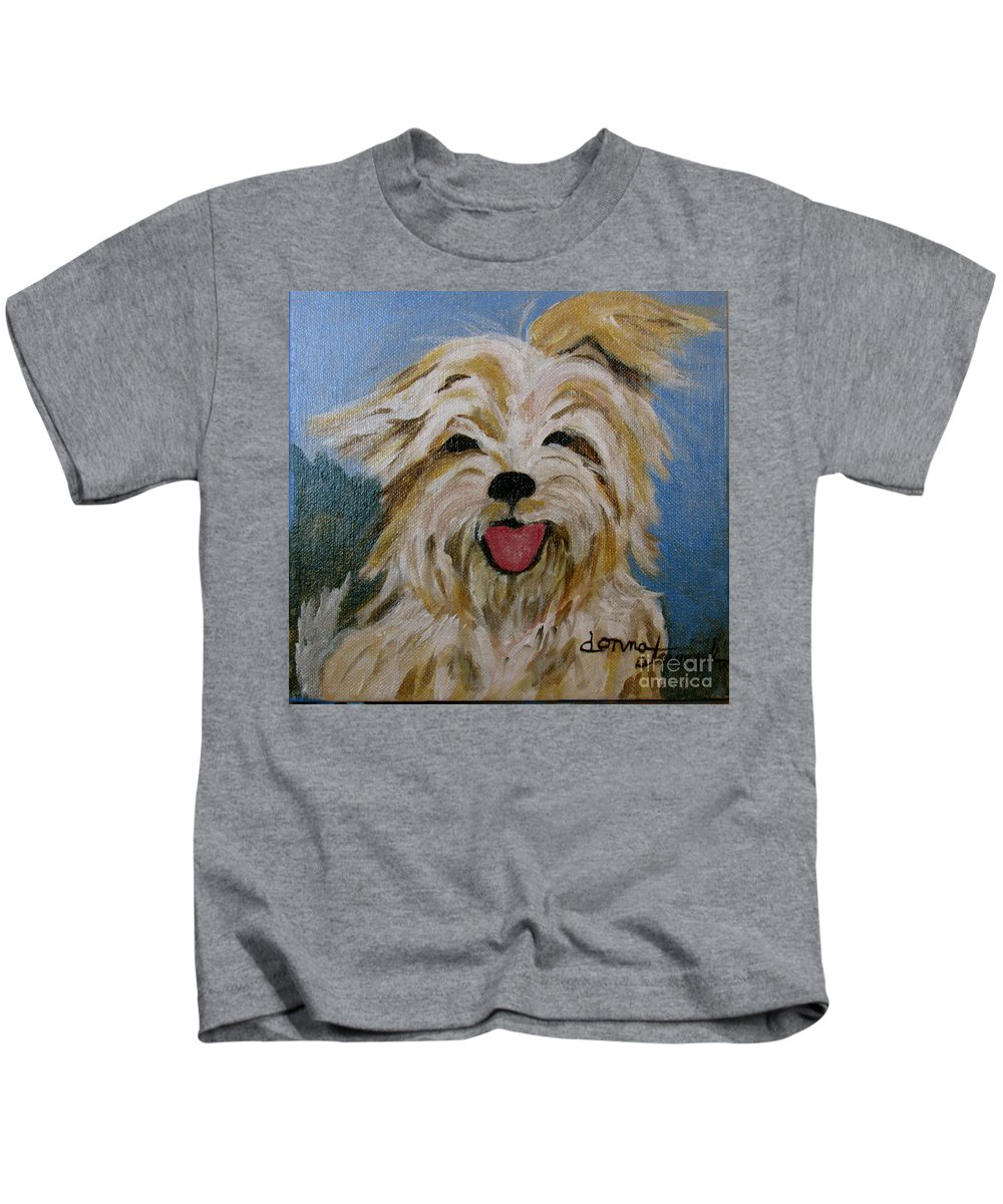 Puppy Kids T-Shirt featuring the painting Scruffy by Donna Steward