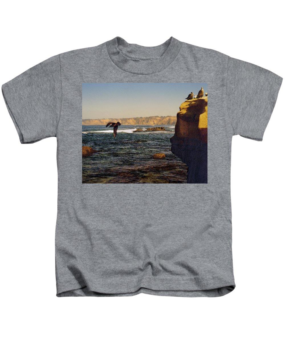 Ocean Kids T-Shirt featuring the digital art Sea Cliff by Steve Karol
