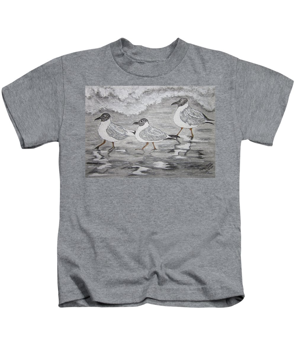 Sea Gulls Kids T-Shirt featuring the painting Sea Gulls Dodging The Ocean Waves by Kathy Marrs Chandler