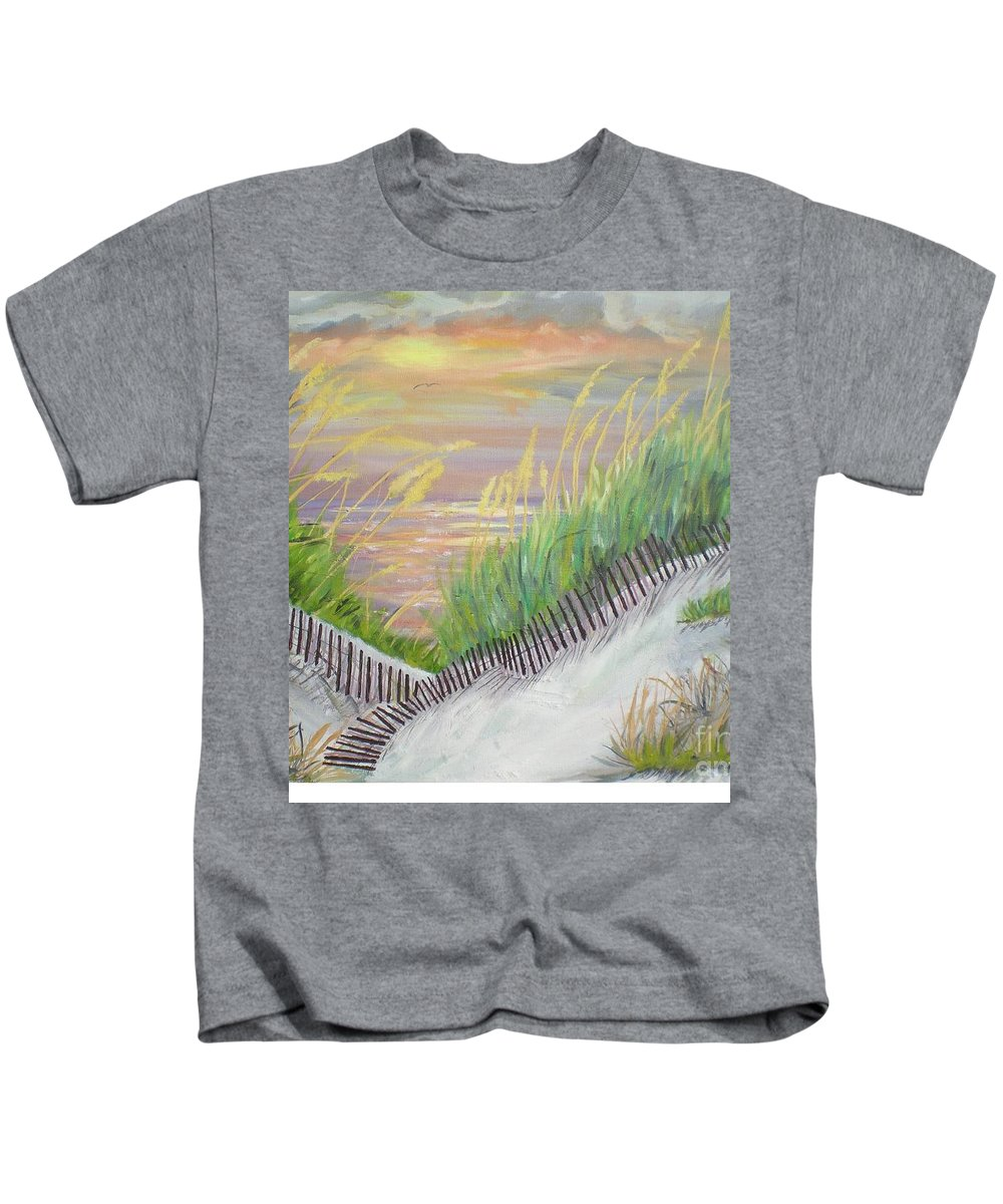 Seascape Kids T-Shirt featuring the painting Sea Oats by Hal Newhouser